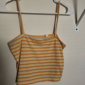 Yellow cropped tank top PACSUN